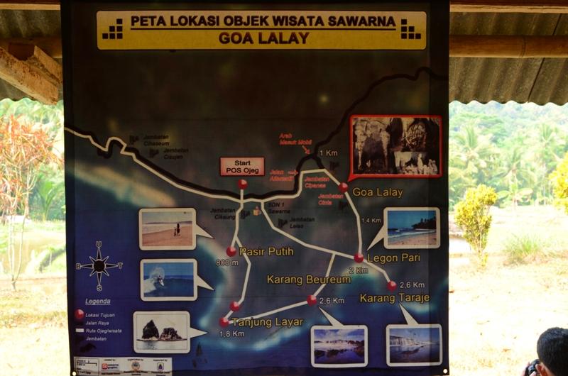 Peta wisata desa Sawarna yang berada di Goa Lalay