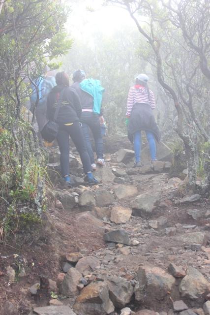 Ngantri untuk naik ke puncak karena jalanan yang terjal