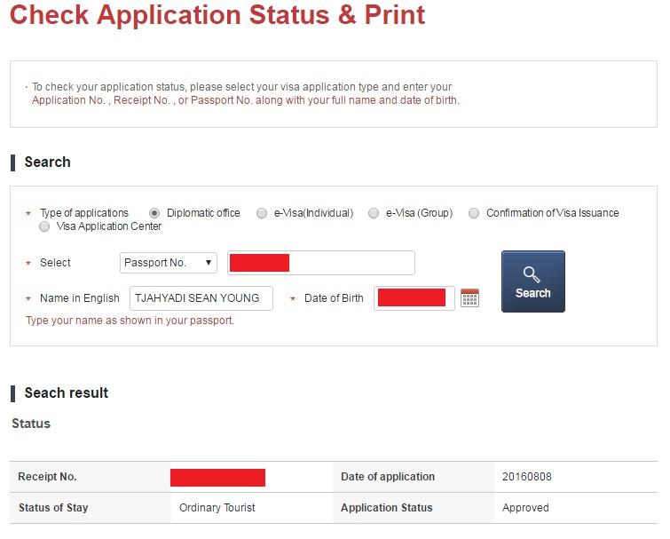status visa Korea Selatan setelah approved