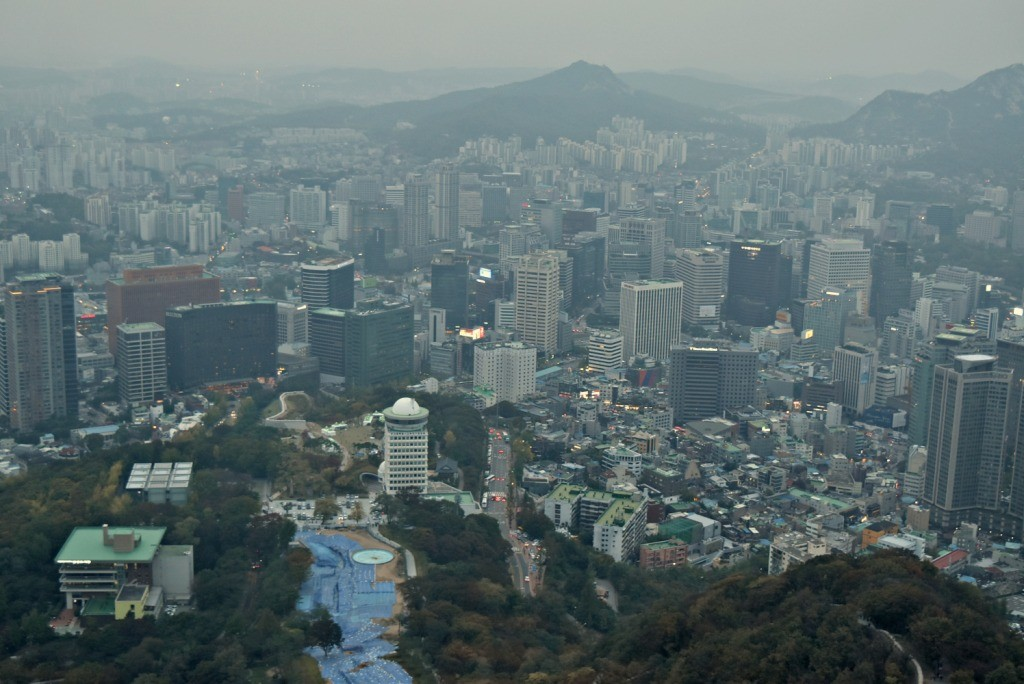 Seoul city from observatory Namsan Tower