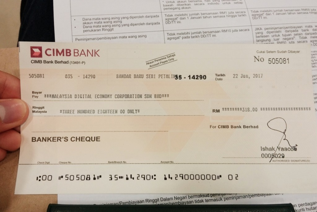 Sample CIMB Bank Draft